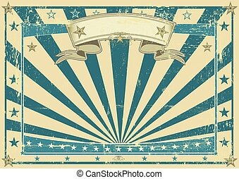 blauwe , poster, horizontaal, retro