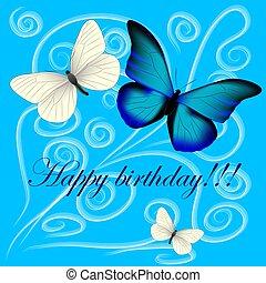 blauwe , postkaart, drie, vlinder, jarig, achtergrond, vrolijke