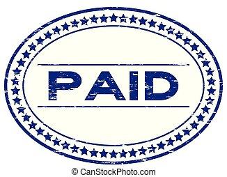 blauwe , postzegel, betaald, ovaal, witte , grunge, rubber, achtergrond, zeehondje