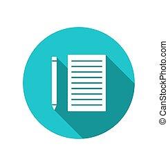 blauwe , potlood, blad, cuted, papier, ronde, achtergrond, pictogram