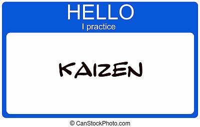 blauwe , pracice, noem etiket, kaizen, hallo