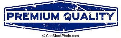 blauwe , premie, postzegel, rubber, achtergrond, zeehondje, grunge, witte , zeshoek, kwaliteit