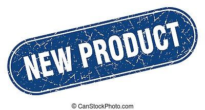 blauwe , product, grunge, stamp., etiket, nieuw, teken.