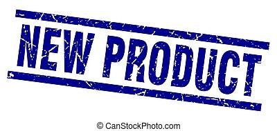 blauwe , product, plein, grunge, postzegel, nieuw