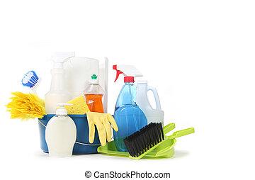 blauwe , producten, huisgezin, emmer, poetsen