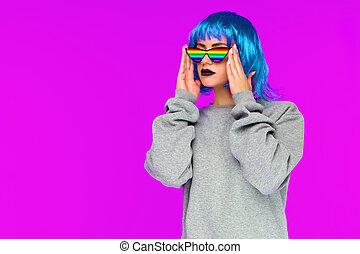 blauwe , pruik, zonnebrillen, regenboog, bovenkant, roze, blik, achtergrond, meisje, lesbische