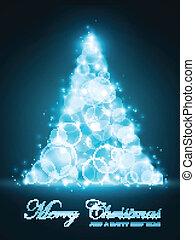 blauwe , punten, gemaakt, licht, boompje, brandpunt, gloeiend, kerstmis, uit