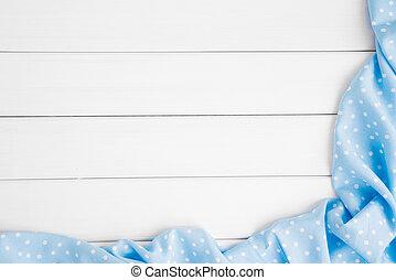 blauwe , punten, image., copyspace, houten, licht, op, bovenzijde, polka, gebleekte, ineengevouwen , text., tafelkleed, tafel., jouw, aanzicht