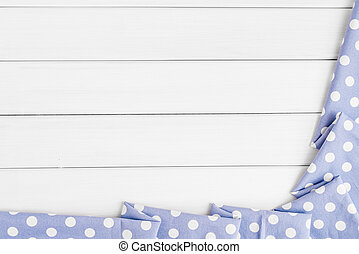 blauwe , punten, image., copyspace, houten, licht, op, bovenzijde, polka, gebleekte, ineengevouwen , viooltje, text., tafelkleed, tafel., jouw, aanzicht
