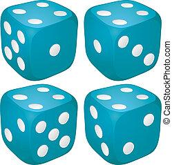 blauwe , punten, set, casino, getal, illustratie, vier,...
