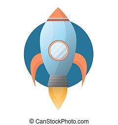 blauwe , raket, ruimte, vuur, machtig, ruim, turbine
