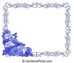 blauwe , randversiering, rozen