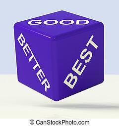 blauwe , ratings, goed, dobbelsteen, verbetering, beter, het...