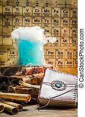 blauwe , reactie, school, dynamisch, chemisch, laboratorium
