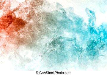blauwe , reactie, zoals, t-shirt, watercolor, vape, cigarette., grijze , textuur, chemisch, van belang zijn, rook, exhaled, achtergrond, tussen, witte , overgangen, elektronisch, rood, print.