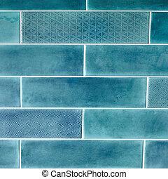 blauwe , rechthoekig, tegel, achtergrond, textuur