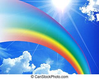 blauwe , regenboog, hemel, levendig