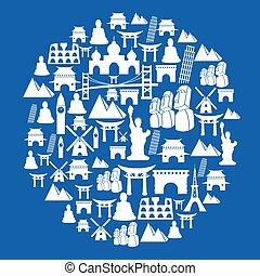 blauwe , reizen, oriëntatiepunt, cirkel, achtergrond