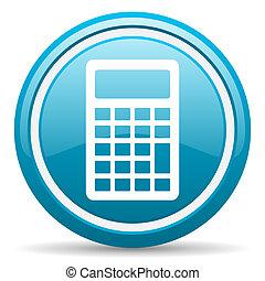 blauwe , rekenmachine, glanzend, achtergrond, witte , ...