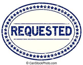 blauwe , requested, grunge, postzegel, rubber, achtergrond, zeehondje, ovaal, witte