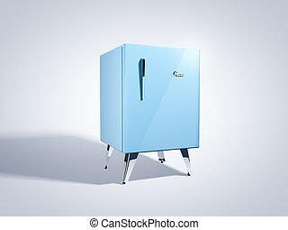 blauwe , retro, koelkast