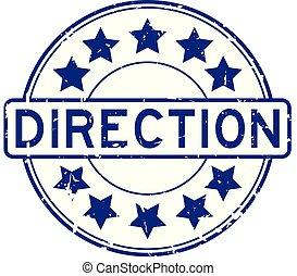 blauwe , richting, grunge, postzegel, rubber, achtergrond, zeehondje, ster, witte , ronde, pictogram