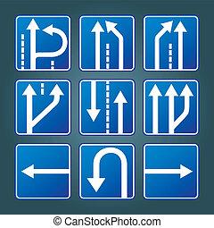 blauwe , richting, verkeerstekens