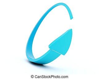 blauwe , richtingwijzer, vrijstaand, op wit