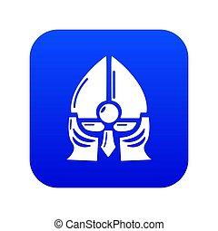 blauwe , ridder, helm, historisch, pictogram