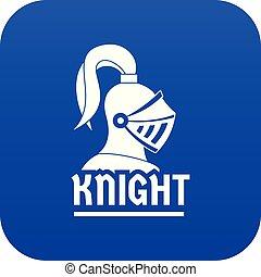 blauwe , ridder, helm, vector, pictogram