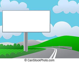 blauwe , road., sky., land, zonnige dag, groene, reclame, buitenreclame, heuvels