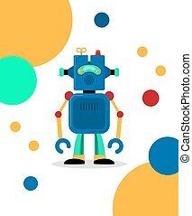 blauwe , robot, kaart
