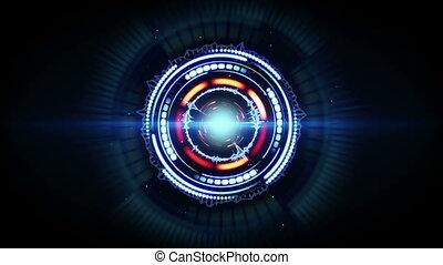 blauwe , rood, gloed, futuristisch, cirkelvormig vorm,...