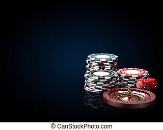 blauwe , roulette, casino, illustratie, dice., zwarte ...