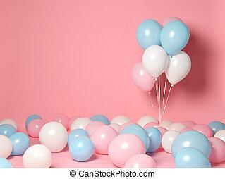 blauwe , roze, decoraties, jarig, corporative, achtergrond, huwelijk partij, witte , ballons