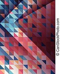 blauwe , roze, model, abstract, richtingwijzer, driehoeken