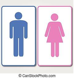 blauwe , roze, restrooms, meldingsbord