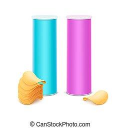 blauwe , roze, set, aardappel, lichte doos, frites