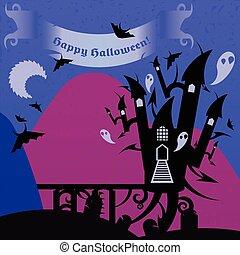 blauwe , roze, tekst, halloween, kasteel, spandoek