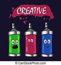 blauwe , roze, verpulveren, verf , vector, logo, groene