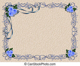 blauwe , rozen, frame, grens