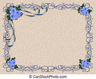 blauwe , rozen, grens, frame