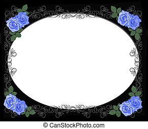 blauwe , rozen, grens, op, black