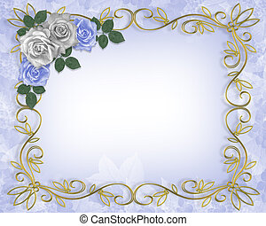 blauwe , rozen, grens, trouwfeest