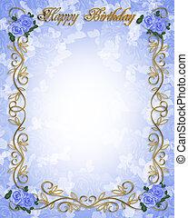 blauwe , rozen, jarig, uitnodiging