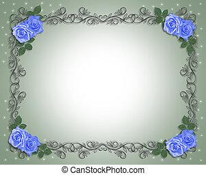 blauwe , rozen, trouwfeest, borde, uitnodiging