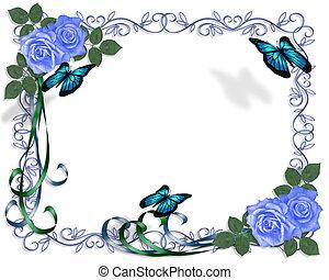 blauwe , rozen, trouwfeest, grens, uitnodiging