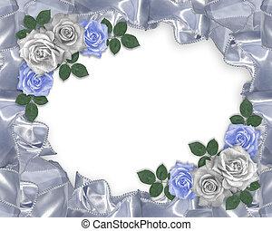 blauwe , rozen, trouwfeest, satijn, uitnodiging