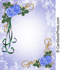blauwe , rozen, uitnodiging, trouwfeest
