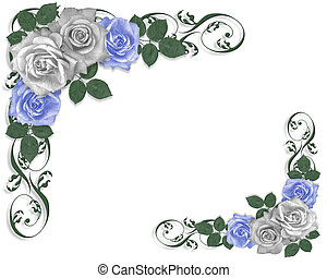 blauwe , rozen, witte , grens, trouwfeest
